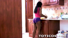 Dominican teen cleaning